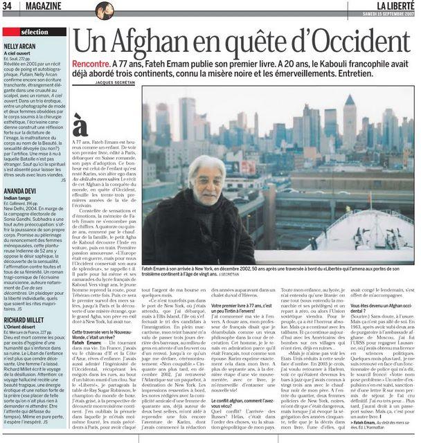 Article de Jacques Secretan dans La Liberté  paru le 15 septembre 2007