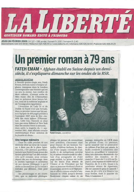 Portrait de l'auteur Fateh Emam par Jacques Seccretan dans le journal La Liberté, Fribourg