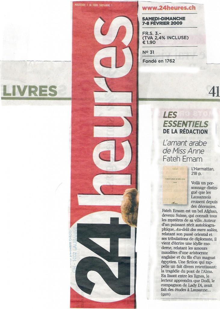 """Article par Gilbert Salem dans """"24 Heures"""", Lausanne sous la rubrique Livres"""